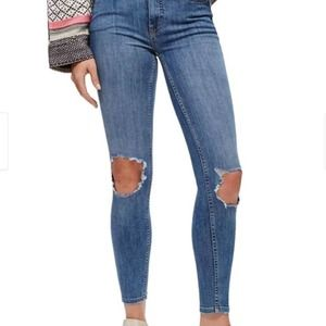 NWT Free People Ripped Skinny Fit Jeans, sz 25